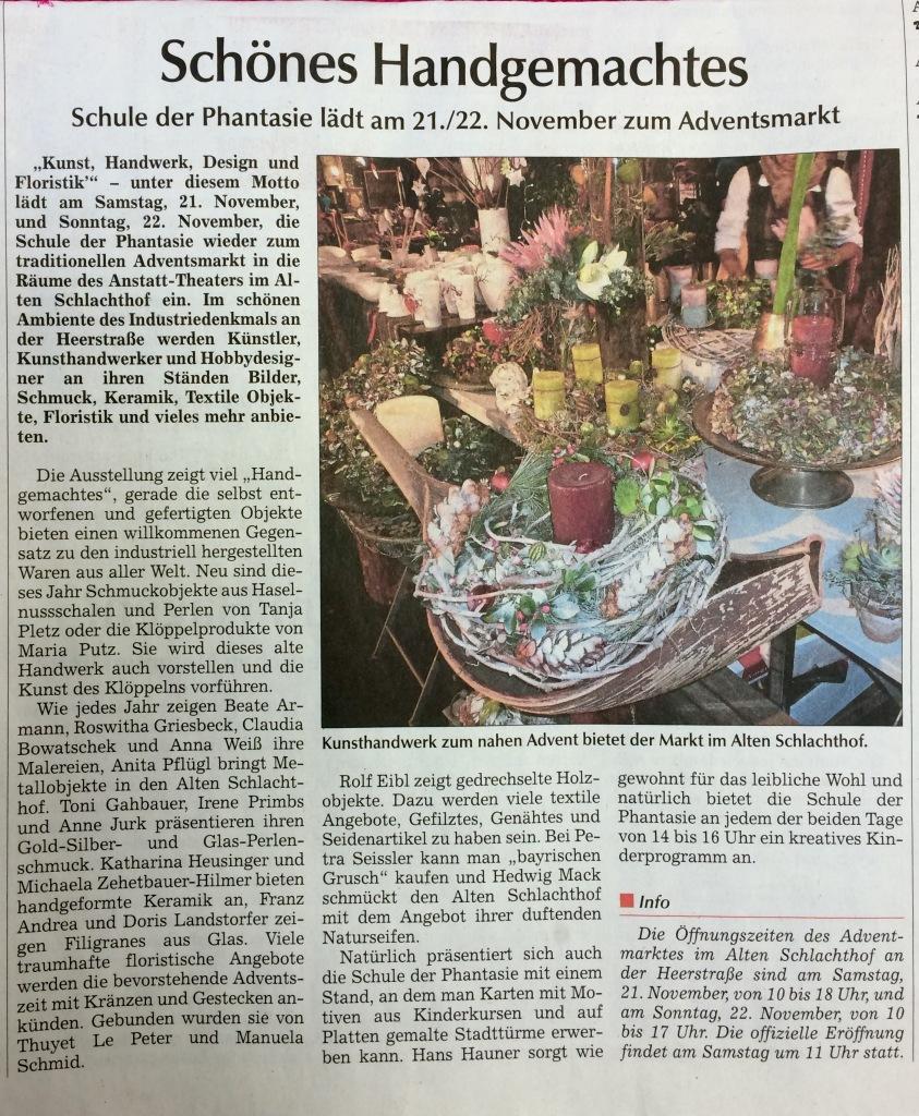 Zeitung schönes handgemachtes advent 2015